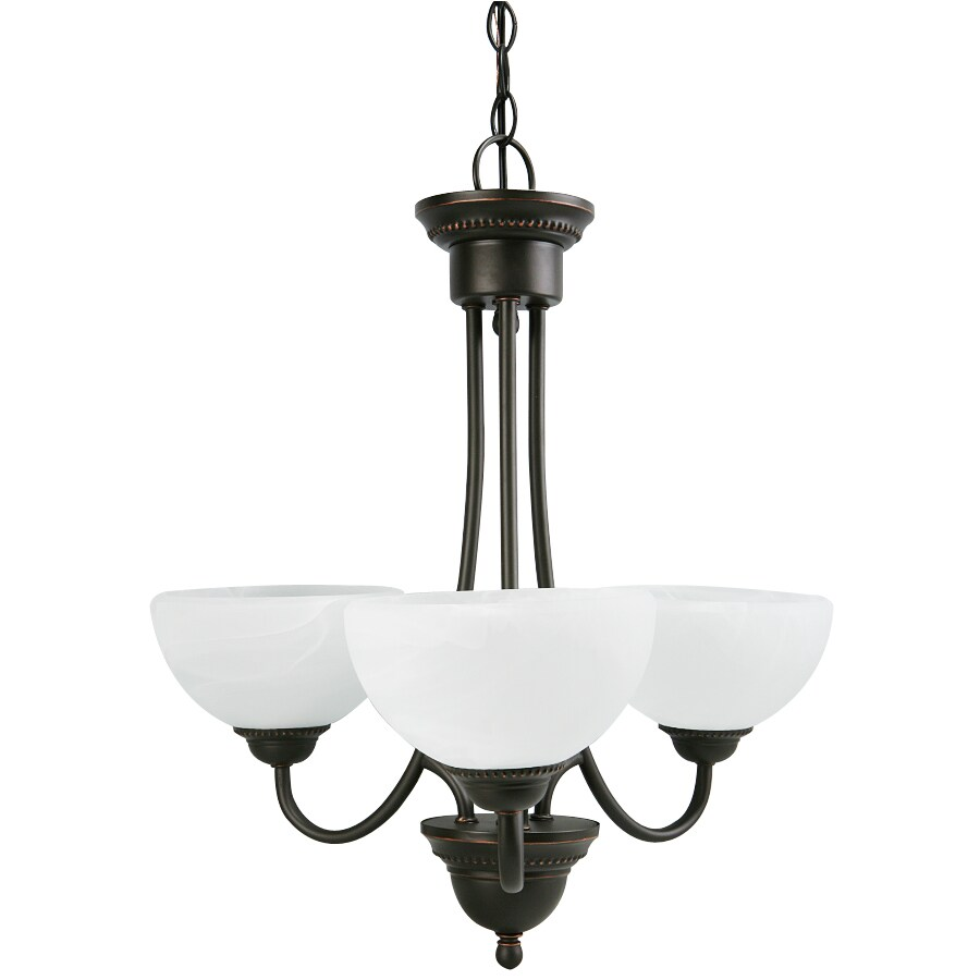 Portfolio Kingsmere 21.12-in 3-Light Oil-Rubbed Bronze Craftsman Alabaster Glass Shaded Chandelier