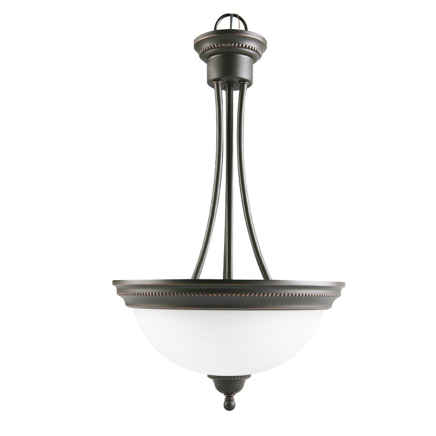 Portfolio Kingsmere 14.25-in Oil Rubbed Bronze Craftsman Single Alabaster Glass Bowl Pendant