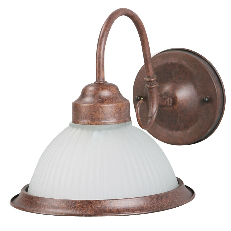 Portfolio 7-5/8-in W 1-Light Rustic Brown Arm Wall Sconce