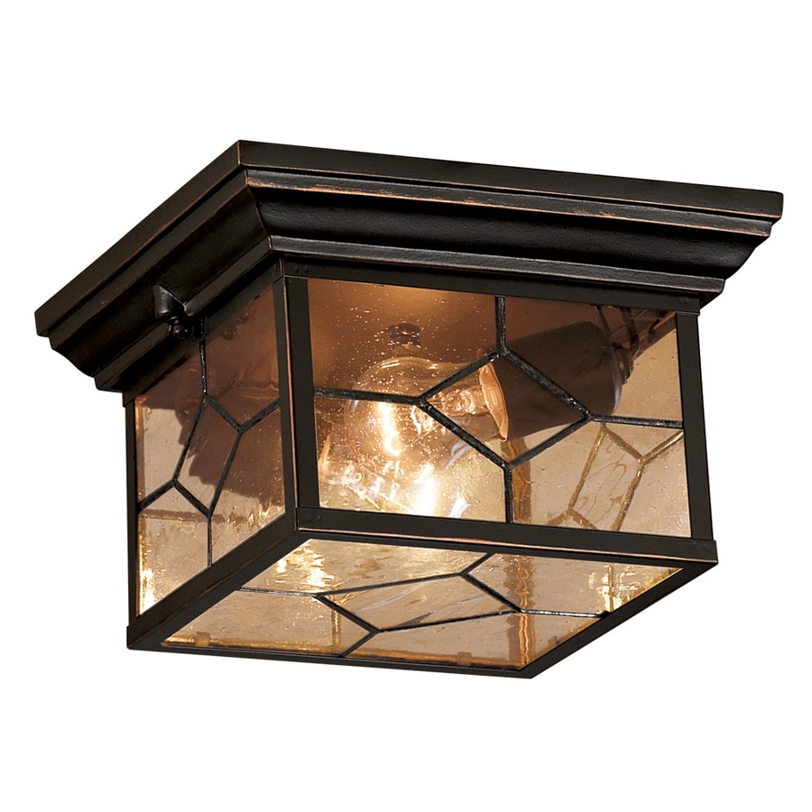 Shop outdoor flush mount lights at lowes portfolio litshire 905 in w oil rubbed bronze outdoor flush mount light aloadofball Images