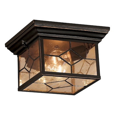 Portfolio Litshire 9.05 In W Oil Rubbed Bronze Outdoor Flush Mount Light by Lowe's