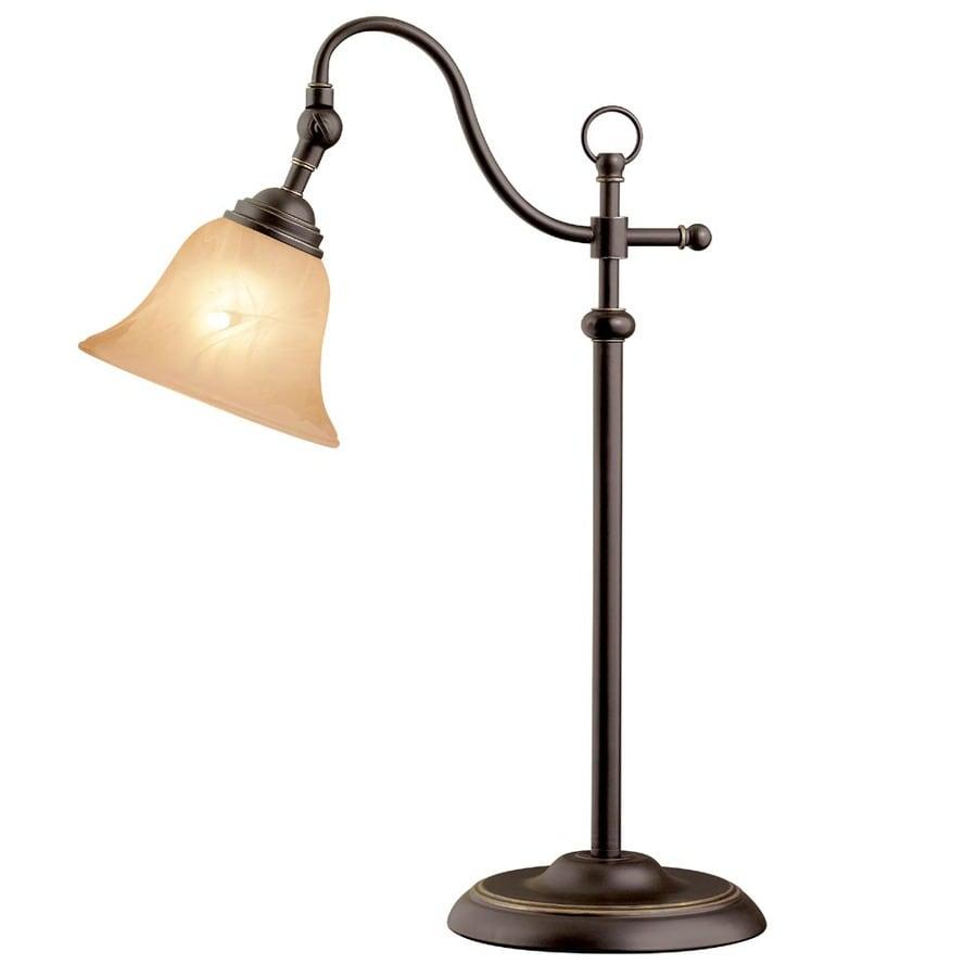 Portfolio 23-in Antique Bronze Indoor Table Lamp with Glass Shade