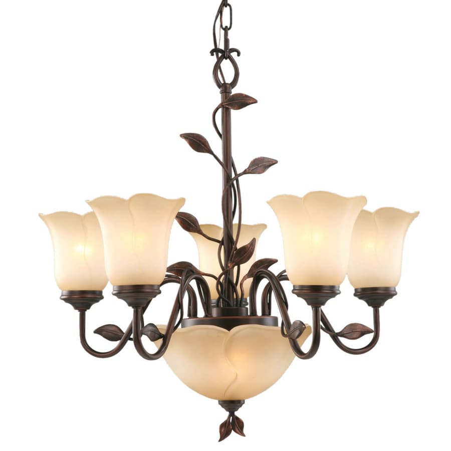 allen + roth Eastview 25.5-in 7-Light Dark Oil-Rubbed Bronze Tinted Glass Chandelier