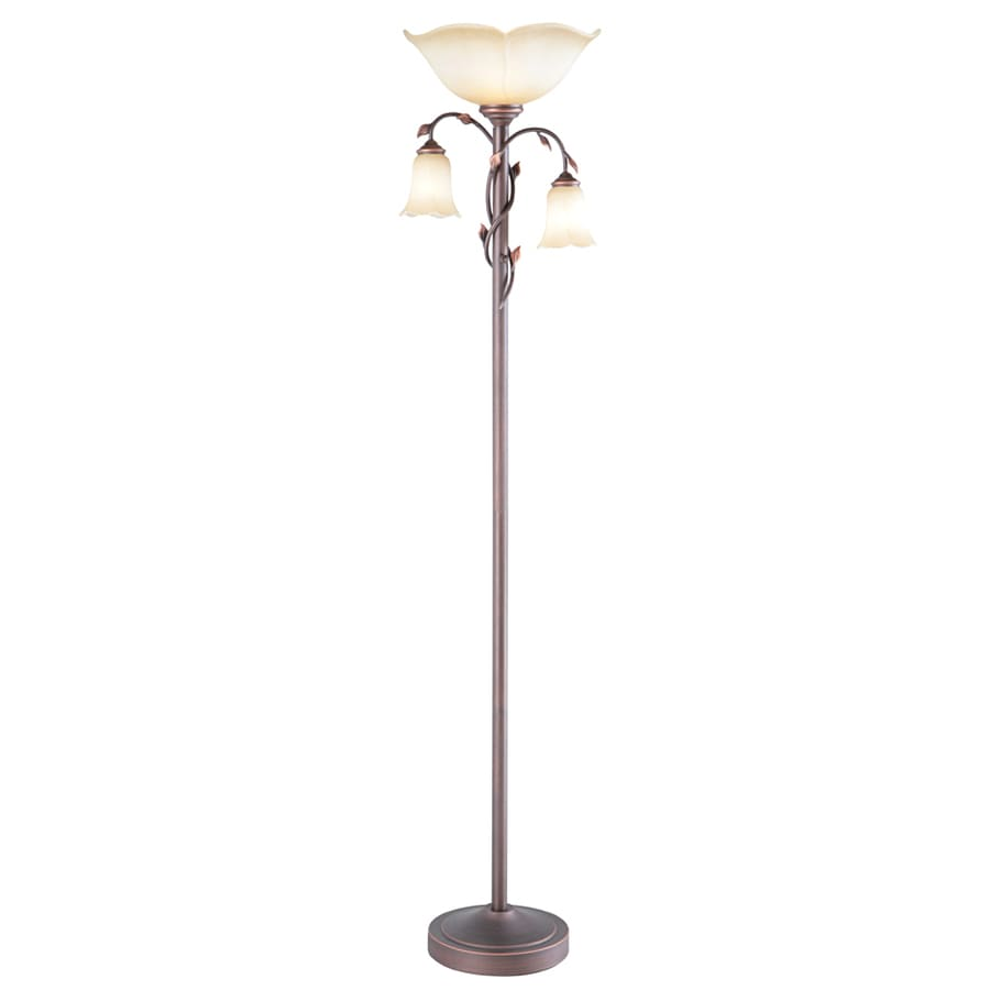 bronze 3 way torchiere with reading light floor lamp with glass shade. Black Bedroom Furniture Sets. Home Design Ideas
