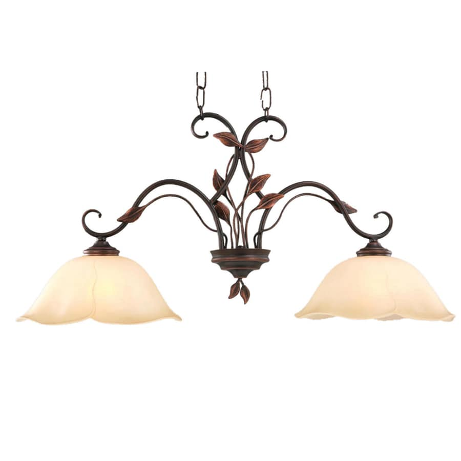 Oil Rubbed Bronze Kitchen Island Lighting Shop Allen Roth Eastview 1287 In W 2 Light Dark Oil Rubbed