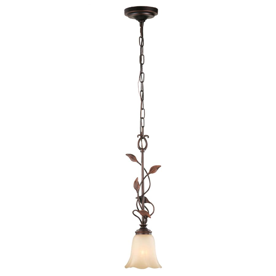 allen + roth Eastview 6.12-in Oil-Rubbed Bronze Mediterranean Mini Tinted Glass Bell Pendant