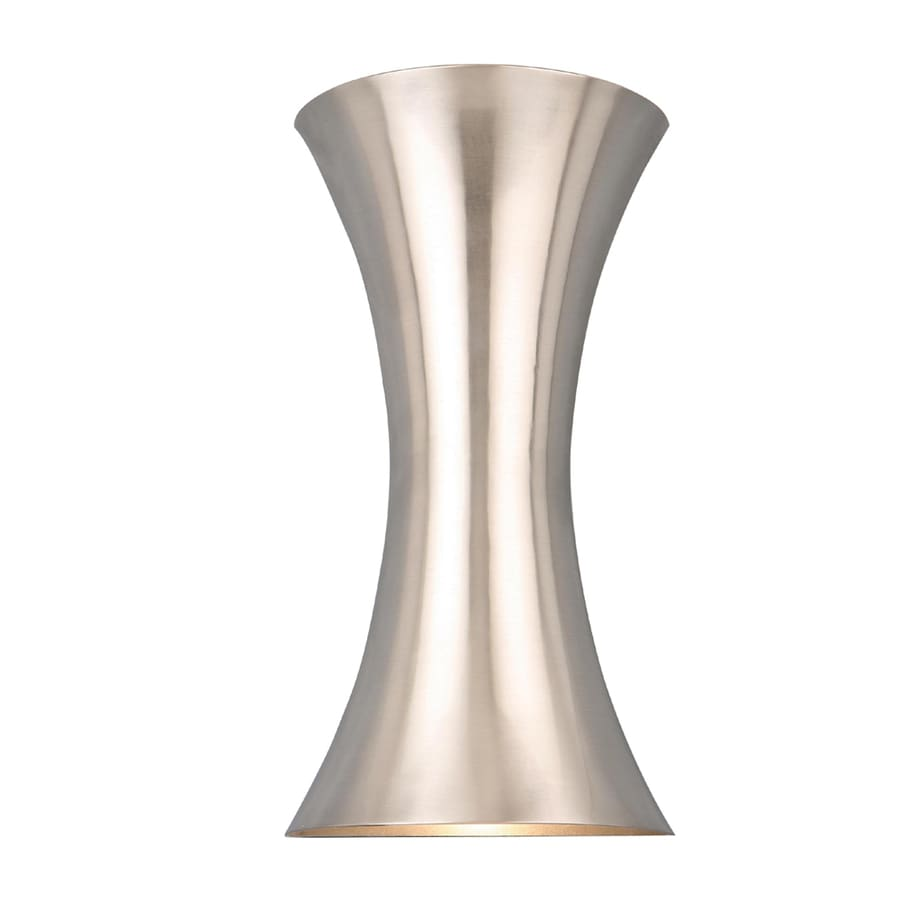 Style Selections 6.75-in W 2-Light Brushed Nickel Pocket Hardwired Wall Sconce
