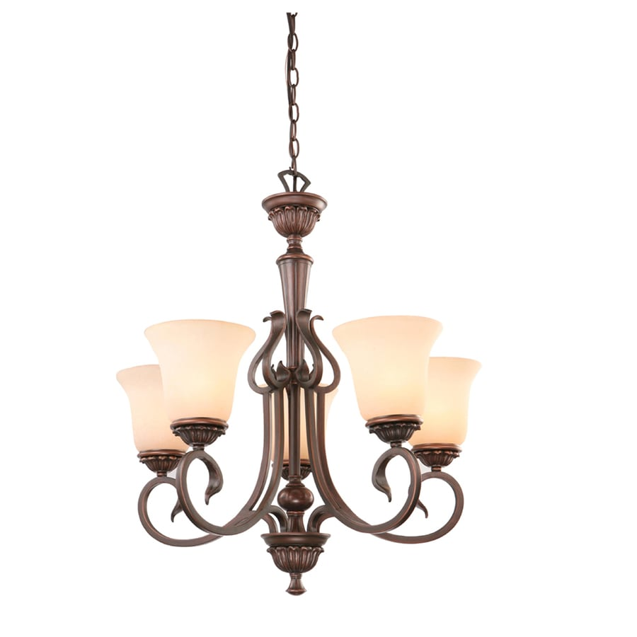 Portfolio Colton Lakes 25.25-in 5-Light Oil-Rubbed bronze Mediterranean Tinted Glass Shaded Chandelier