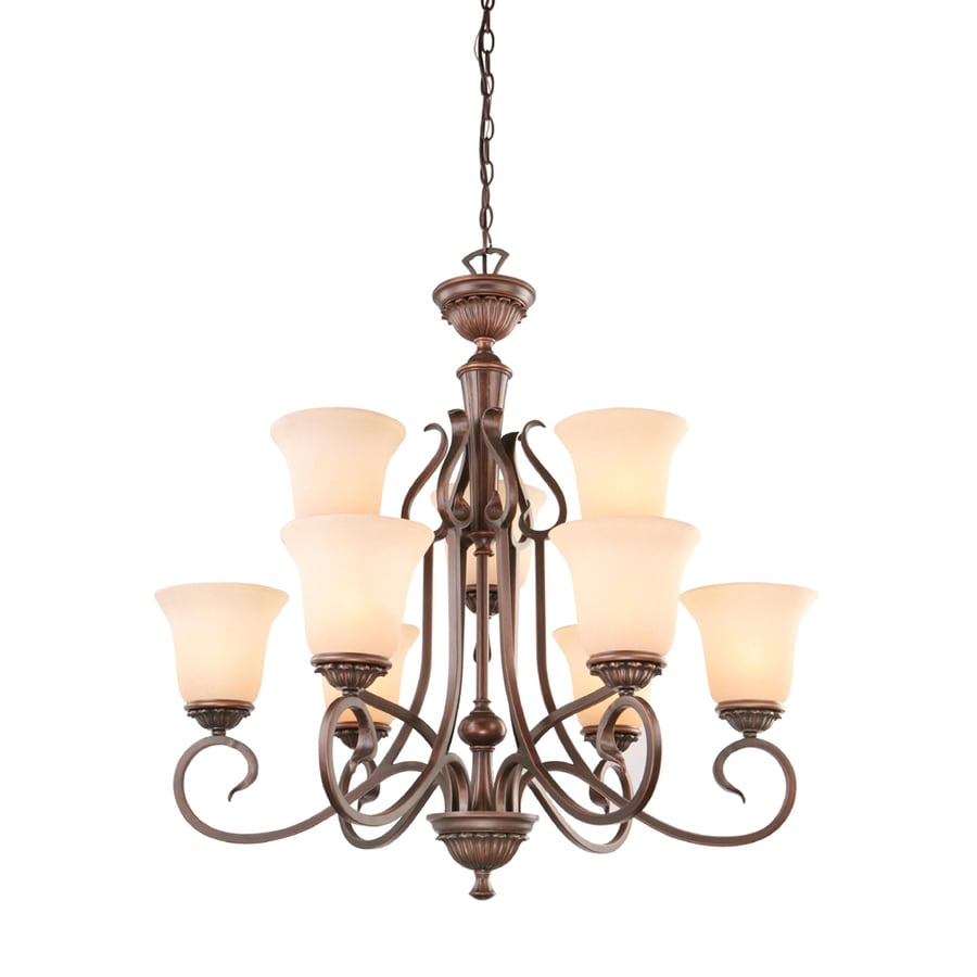 Portfolio Colton Lakes 31 25 In 9 Light Oil Rubbed Bronze Mediterranean Tinted Glass Tiered Chandelier By
