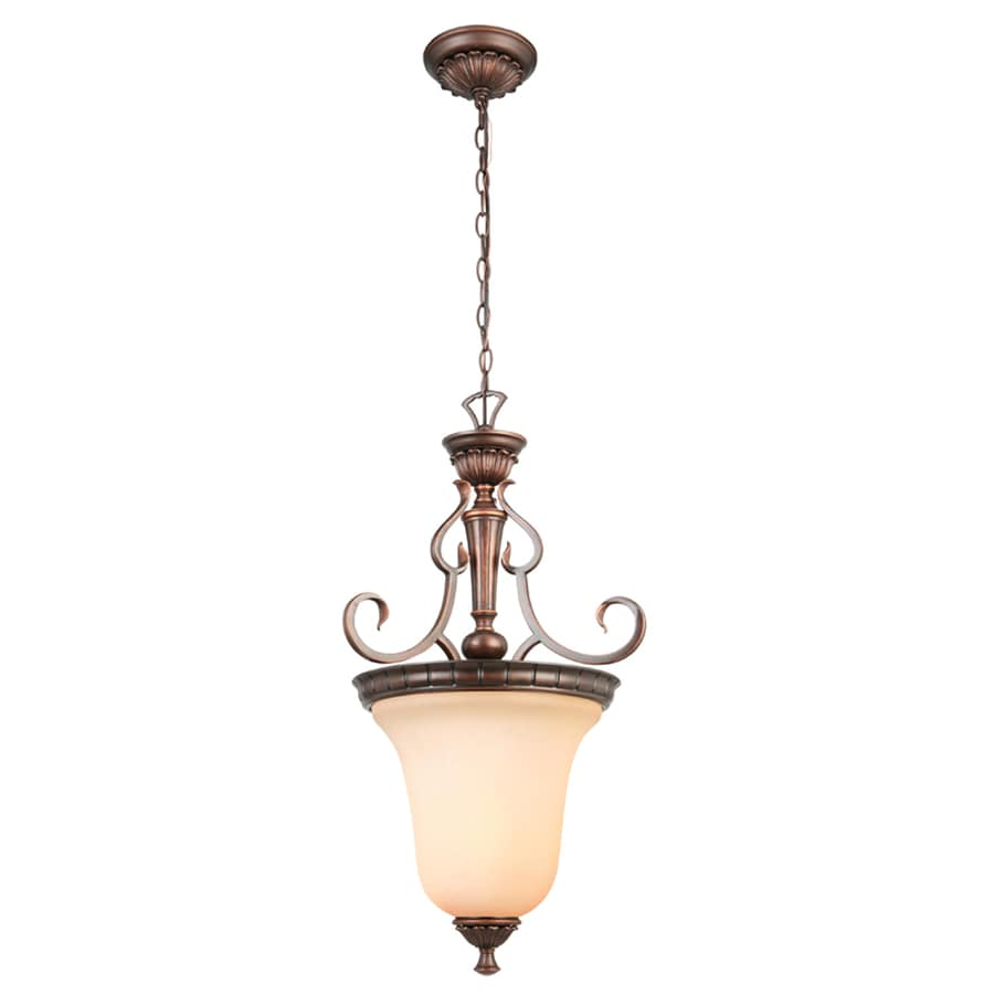 Portfolio Colton Lakes 16.75-in 3-Light Oil-Rubbed Bronze Mediterranean Tinted Glass Shaded Chandelier