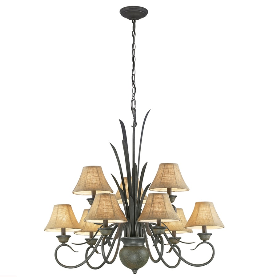 Portfolio 37.25-in 9-Light Specialty Bronze Standard Chandelier