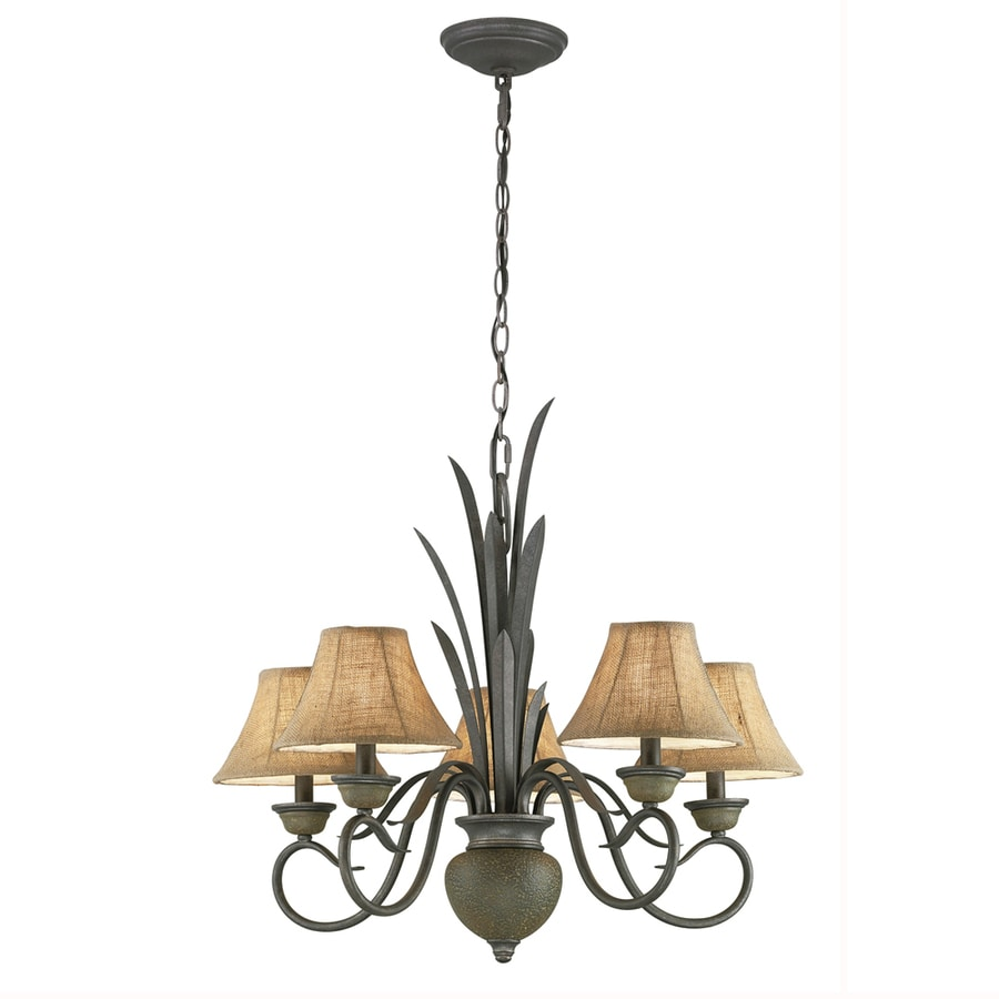 Portfolio 28.5-in 5-Light Specialty Bronze Standard Chandelier