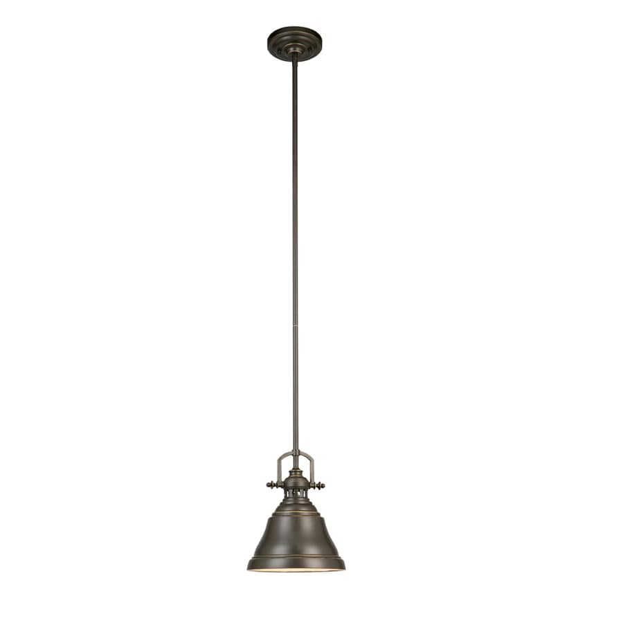 Shop Allen Roth 8 In Bronze Industrial Mini Bell Pendant