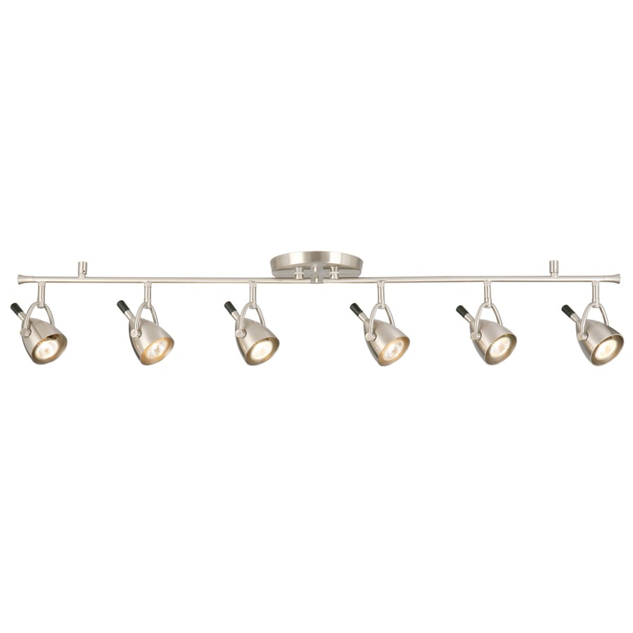 Style Selections 6-Light 45.75-in Brushed Nickel Flush Mount Fixed Track Light Kit
