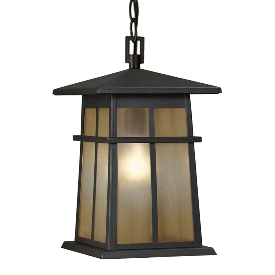 Shop portfolio amberset 8 5 in specialty bronze craftsman Outdoor pendant lighting