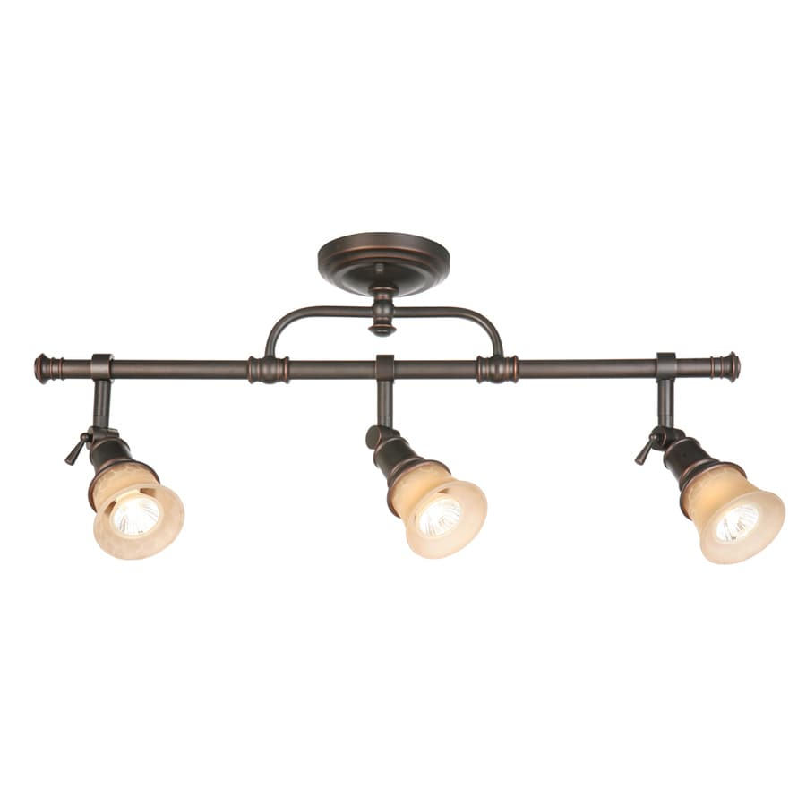 allen + roth 3-Light 27-in Specialty Bronze Dimmable Flush-Mount Fixed Track Light Kit
