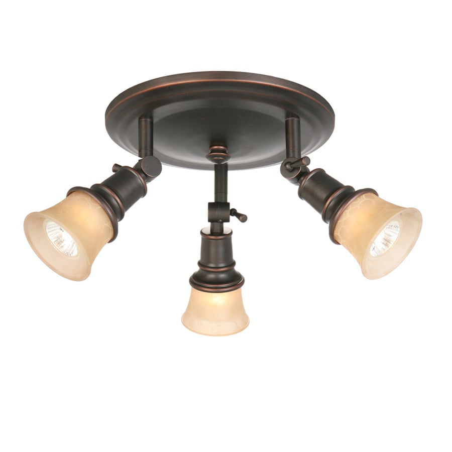 allen + roth 3-Light 10.5-in Specialty Bronze Dimmable Flush-Mount Fixed Track Light Kit