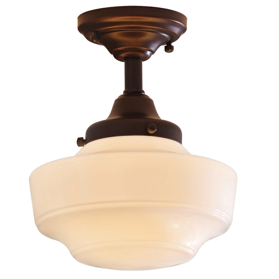 allen roth 862in w dark oilrubbed bronze opalescent glass semi