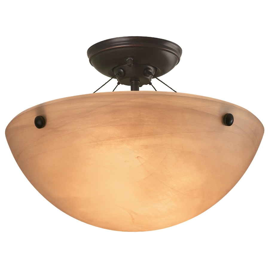 Portfolio 14.12-in W Oil-Rubbed Bronze Alabaster Glass Semi-Flush Mount Light