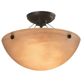 Shop Portfolio 13-in W Oil-Rubbed Bronze Flush Mount Light at ...:Portfolio 14.12-in W Oil-Rubbed Bronze Alabaster Glass Semi-Flush Mount  Light,Lighting