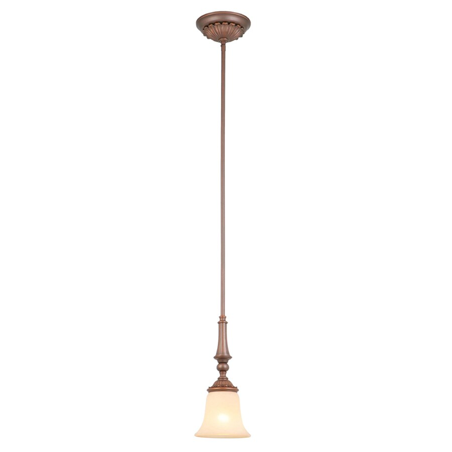 Portfolio Colton Lakes 6-in Oil-Rubbed Bronze Mediterranean Mini Tinted Glass Bell Pendant