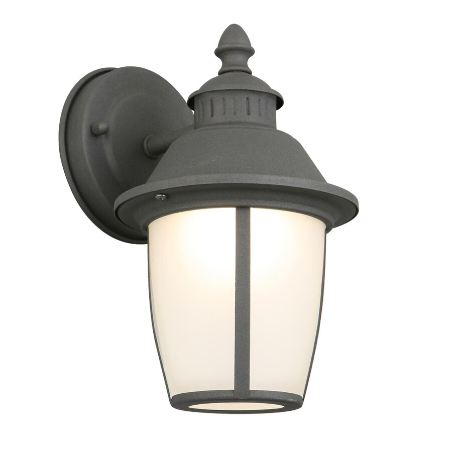 Portfolio 9.12-in H Matte Black LED Outdoor Wall Light