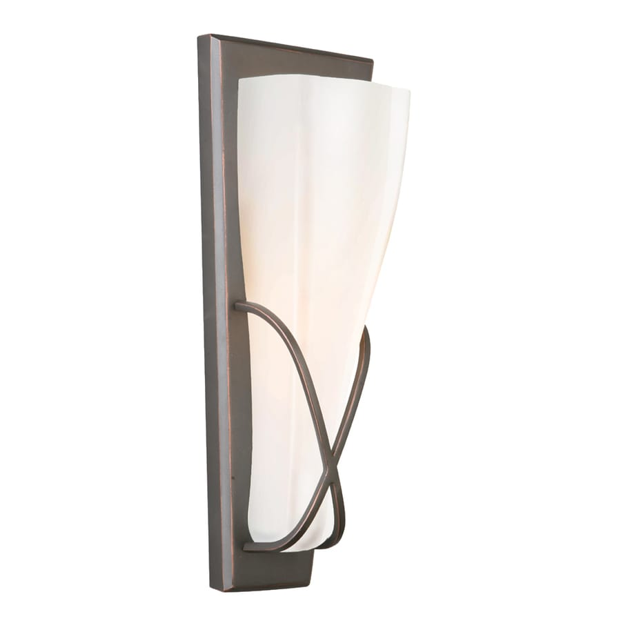 Wall Sconces With Glass : Shop Portfolio 5.13-in W 1-Light Oil Rubbed Bronze Pocket Wall Sconce at Lowes.com