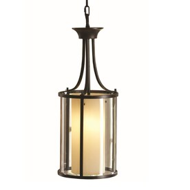 allen + roth Harpwell Oil-Rubbed Bronze Single Traditional Tinted Glass Cylinder Pendant Light