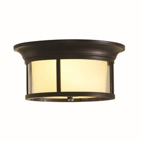 Shop flush mount lighting at lowes allen roth harpwell 1319 in w oil rubbed bronze flush mount light mozeypictures Images