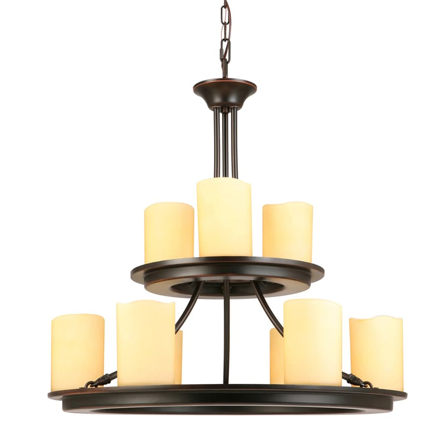 allen + roth Harpwell 25-in 9-Light Oil-Rubbed Bronze Mediterranean Tinted Glass Tiered Chandelier