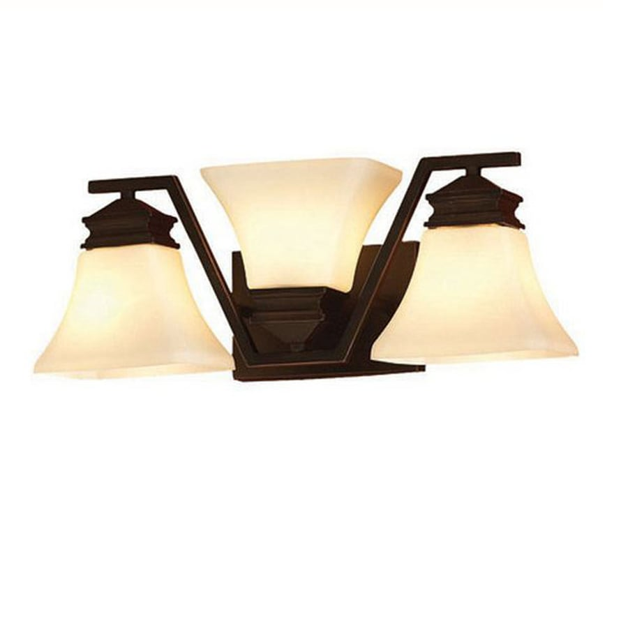 Shop allen + roth 3-Light 7.13-in Oil-Rubbed bronze Geometric Vanity Light at Lowes.com
