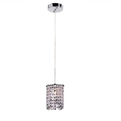 Chrome Mini Modern Contemporary Crystal Cylinder Pendant Light