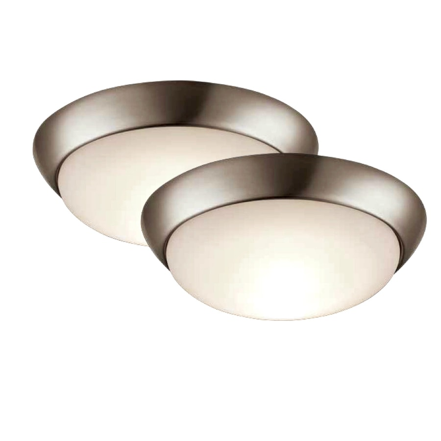 Project Source 2-Pack 11-in W Brushed Nickel LED Ceiling Flush Mount Light