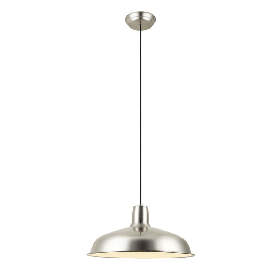 Project Source 15.87-in Brushed Nickel Barn Single Warehouse Pendant