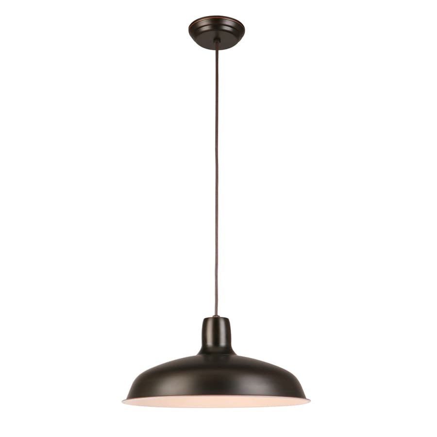 Project Source 15.87-in Bronze Barn Single Warehouse Pendant