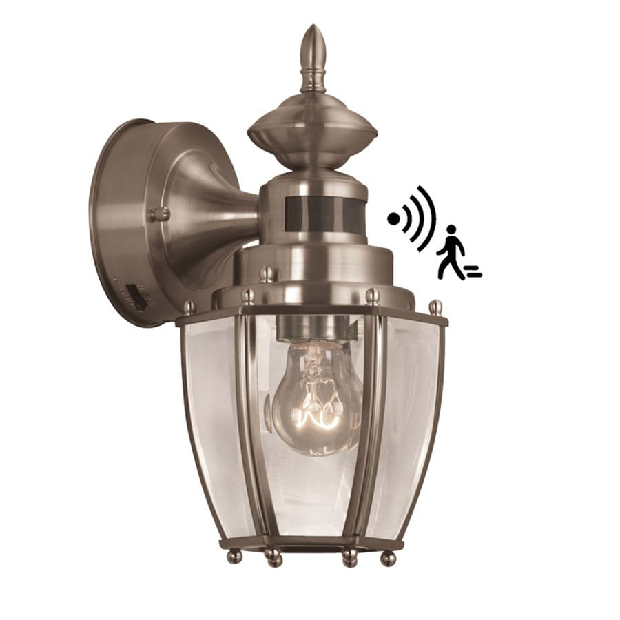 Shop portfolio h brushed nickel motion activated outdoor wall light at for Exterior wall light with motion sensor