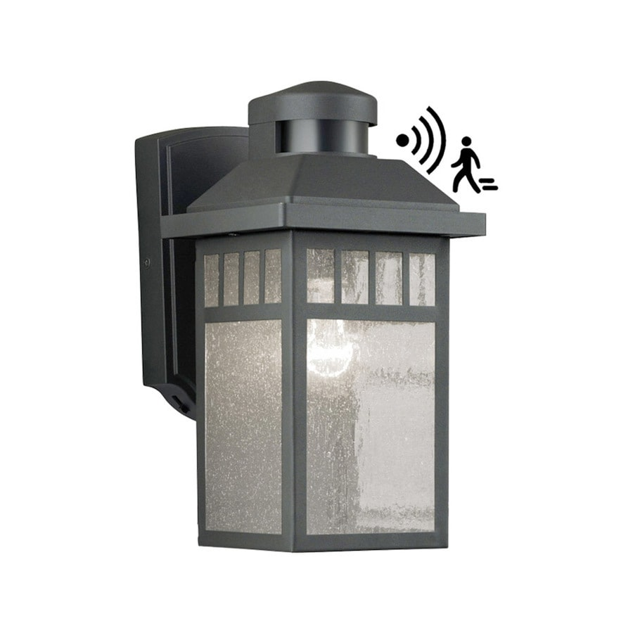 Portfolio 11.5-in H Black Motion Activated Outdoor Wall Light