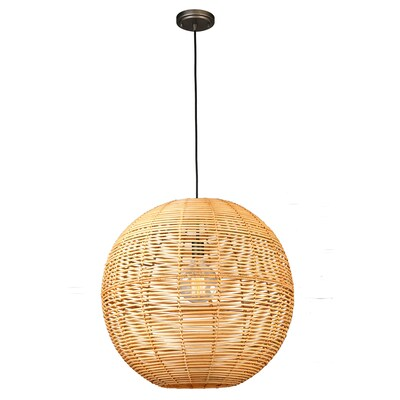 allen + roth Cleo Painted Raw Iron Traditional Globe Pendant Light