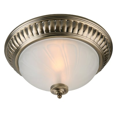 new styles 0f732 7e9c1 13.75-in Antique Brass Flush Mount Light