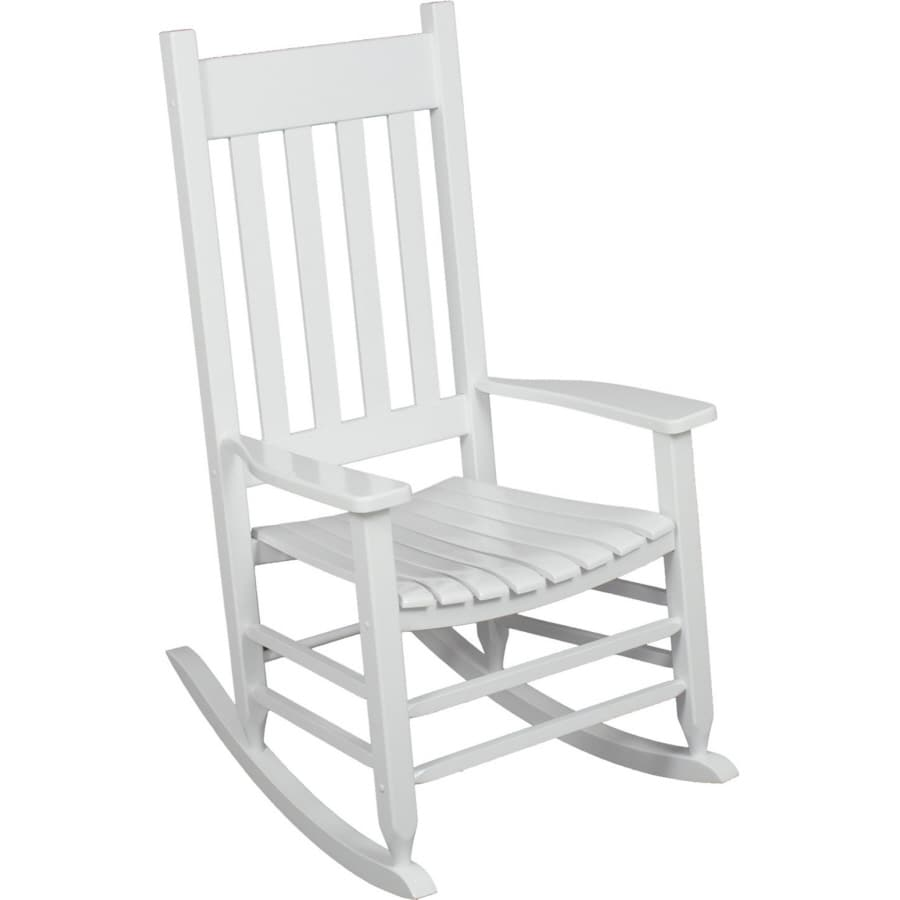 Garden Treasures White Wood Slat Seat Outdoor Rocking Chair