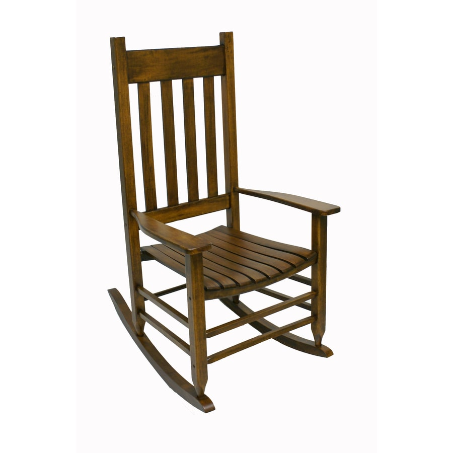 shop garden treasures natural wood slat seat outdoor rocking chair