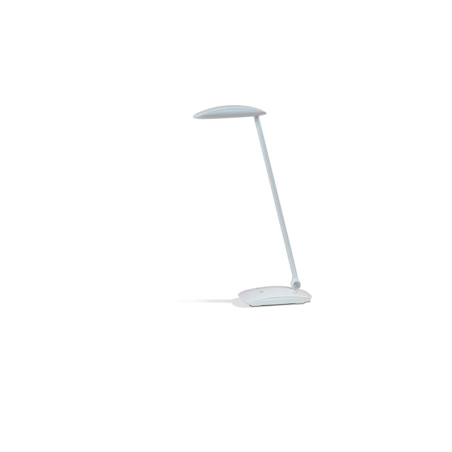 2-in Adjustable White LED Touch Swing-arm Desk Lamp with Shade