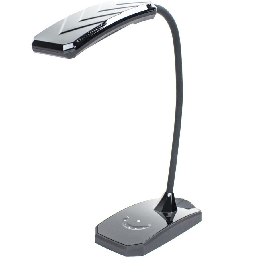 3.5-in Adjustable Black LED Touch On/Off Desk Lamp with Shade