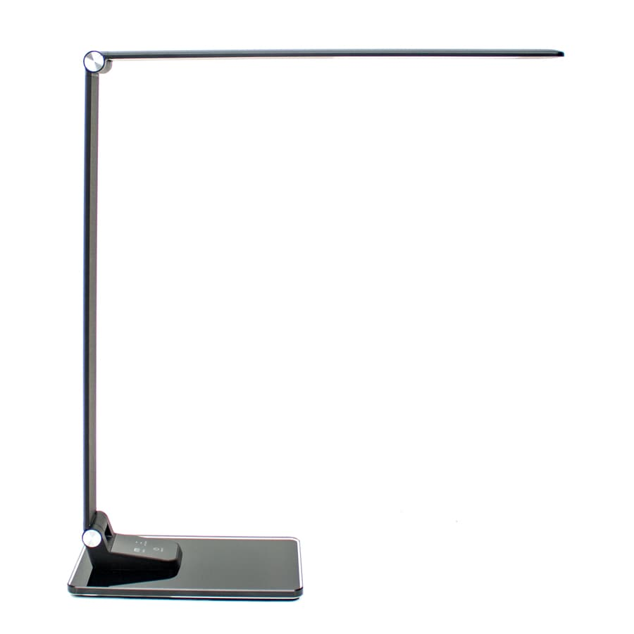 12-in Adjustable Black LED Touch Swing-arm Desk Lamp with Shade