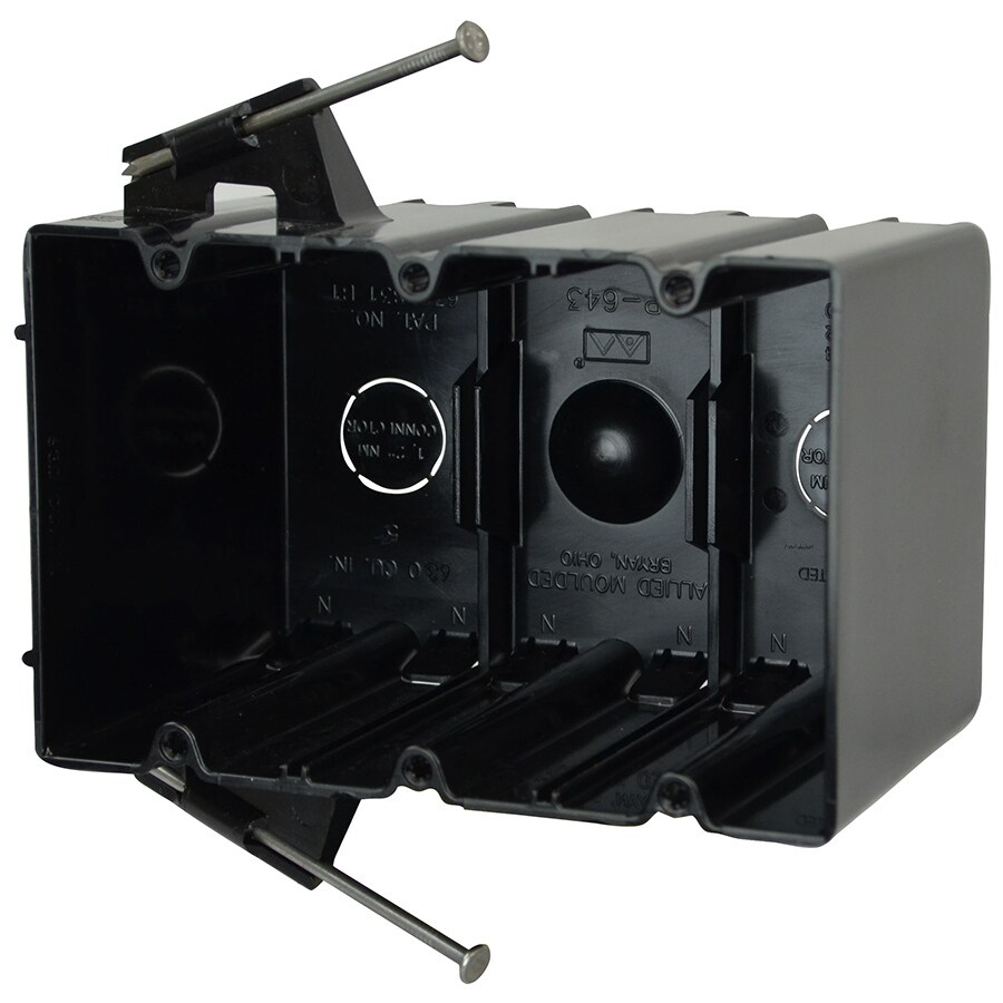 Allied Moulded 3-Gang Black Plastic Weatherproof Exterior/Interior New Work Standard Square Interior/Exterior Electrical Box