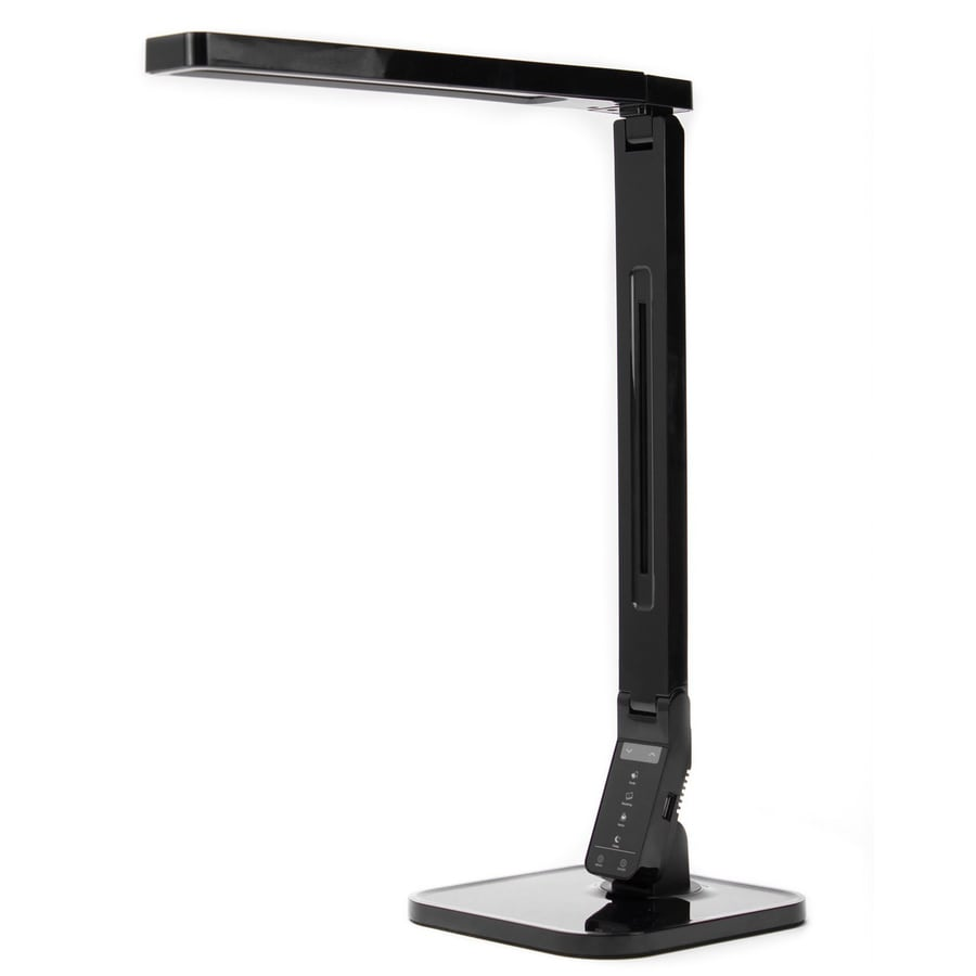 3-in Adjustable Black Contemporary/Modern Integrated Touch On/Off Desk Lamp with Shade