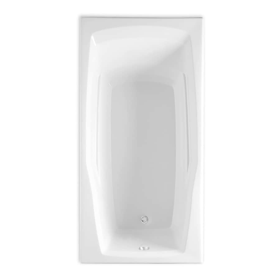 Laurel Mountain Reston 60-in White Acrylic Drop-In Bathtub with Reversible Drain