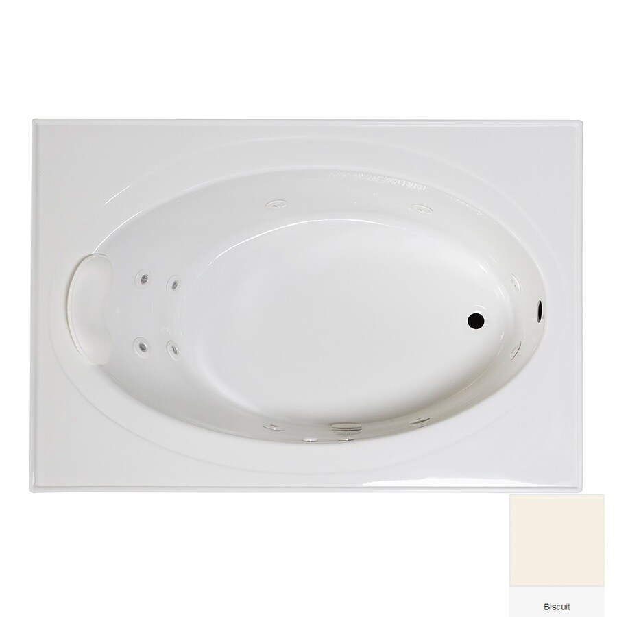Laurel Mountain Everson 1 59-in Biscuit Acrylic Drop-In Whirpool Tub with Reversible Drain