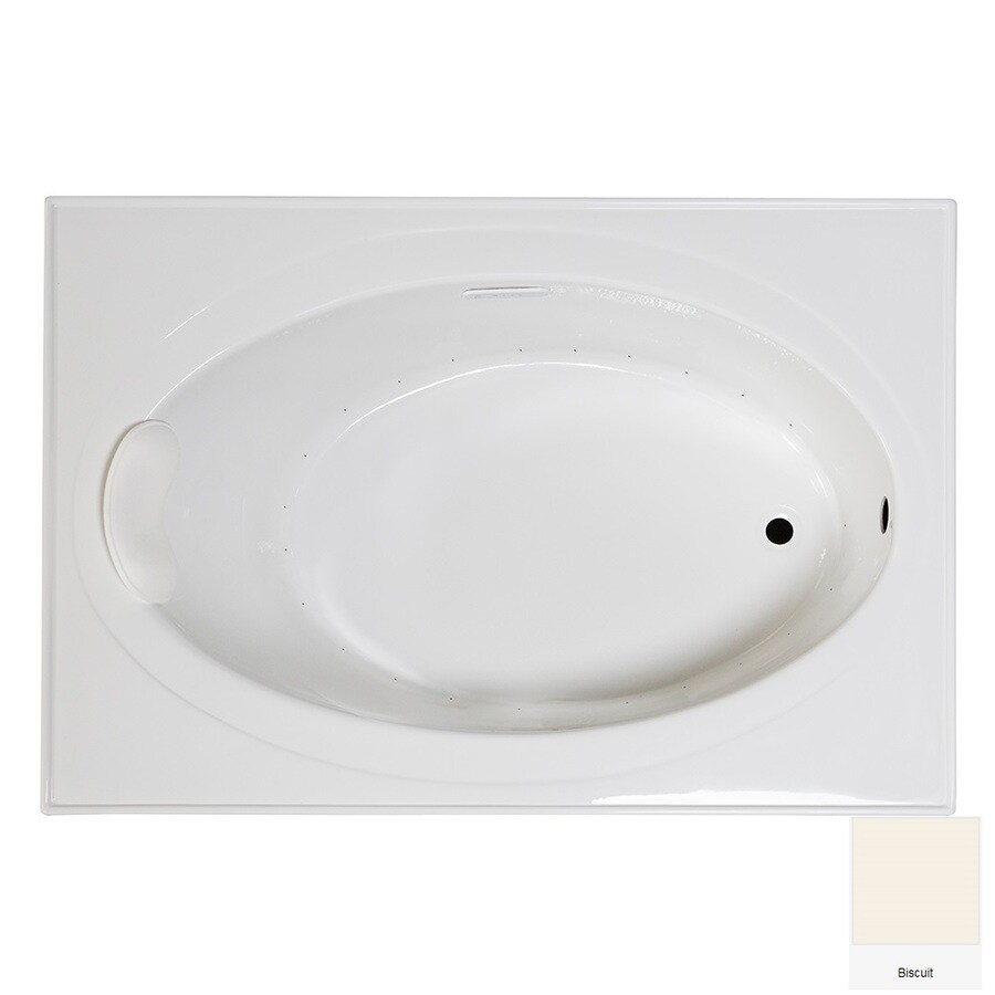Laurel Mountain Everson 1 59-in Biscuit Acrylic Drop-In Air Bath with Reversible Drain