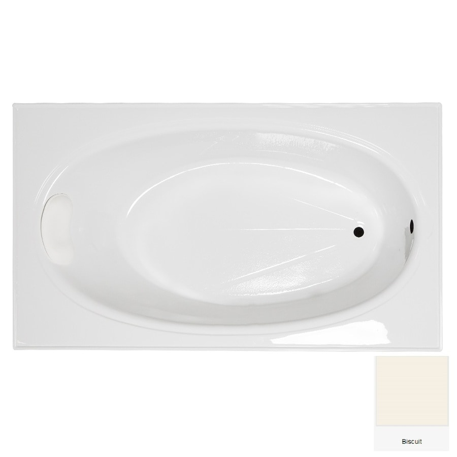 Laurel Mountain Everson 2 72 In Biscuit Acrylic Drop In Bathtub With  Reversible Drain